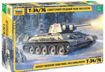Zvezda 3689 T-34/76 Soviet medium tank 1943 Uralmash 1:35